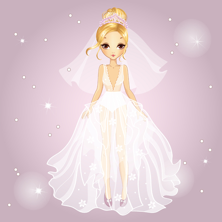 Vector illustration of beautiful fashionable blonde girl with diadem in a wedding dress