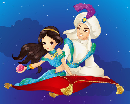 Vector illustration of Arabian fairy tale. Prince and Princess travelling on flying carpet at the night