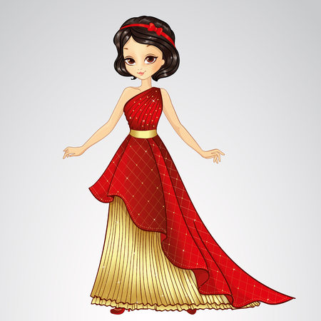 costume ball: Vector illustration of beautiful brunette princess in red dress from fairytale