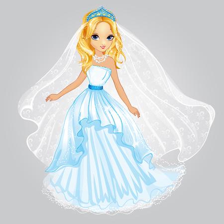 Vector illustration of blonde princess in wedding dress Vettoriali