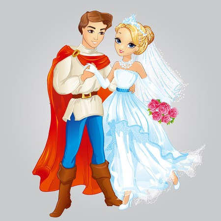 Vector illustration of beautiful prince and princess married from fairytale Illustration