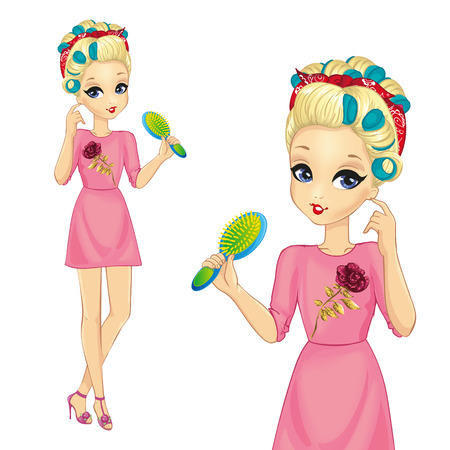 Vector illustration of beautiful blonde girl with curlers holding a hairbrush