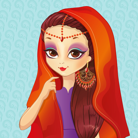 elegant woman: Vector illustration of Indian style makeup for beautiful fashion girl with jewelry