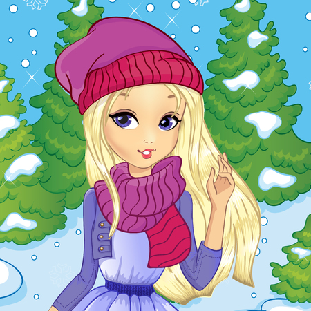 Vector illustration of beautiful blonde girl on the background of the winter forest Vettoriali