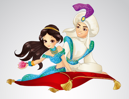 Vector illustration of Arabian fairy tale. Prince and Princess travelling on flying carpet on white background