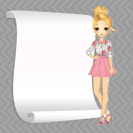 Illustrazione di vettore di bella ragazza bionda di moda in abito romantico con la bandiera bianca per il testo