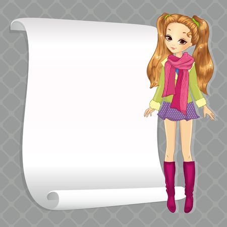 autum: Vector illustration of beautiful school girl in autum clothes with white banner for your text