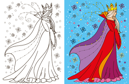 snow queen: Colouring book vector illustration of beautiful snow queen in winter
