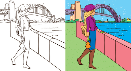 white blouse: Colouring book vector illustration of beautiful girl stands on the river bank