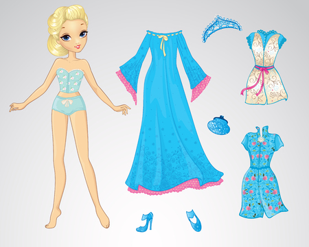 Vector illustration of paper doll of snow queen and set of bluel clothes