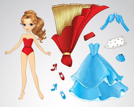 Ilustración del vector de papel de la muñeca de la princesa y un conjunto de ropa de color rojo y azul