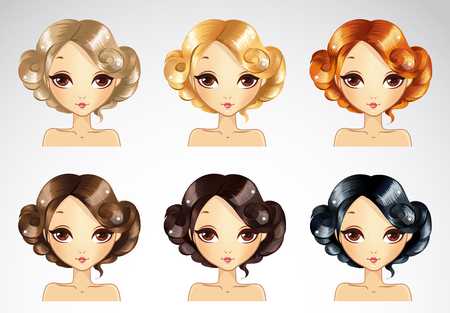 glamur: Vector illustration of beautiful short glamour hairstyle set in different colours