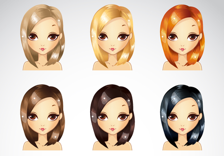 Vector illustration of beautiful straight short glamour hairstyle set in different colours