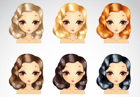Vector illustration of beautiful glamour evening curls hair styling set in different colours