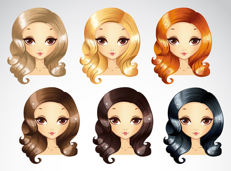 Vector illustration of fashion evening curls hair styling set in different colours Vettoriali