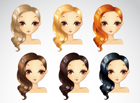 glamur: Vector illustration of glamour evening curls hair styling to one side set in different colours