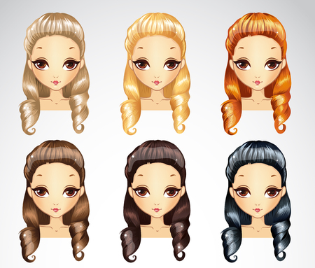 Vector illustration of fashion princess curls hair styling set in different colours Vettoriali