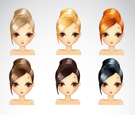 glamur: Vector illustration of bisness smooth hair styling set in different colours