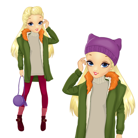 small girl: Vector illustration of fashion blonde girl in green coat and purple hat hold small bag Illustration