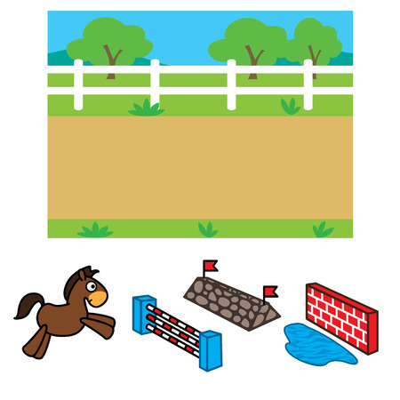 Vector illustration of racecourse background with horse and object for animation 版權商用圖片 - 68493473