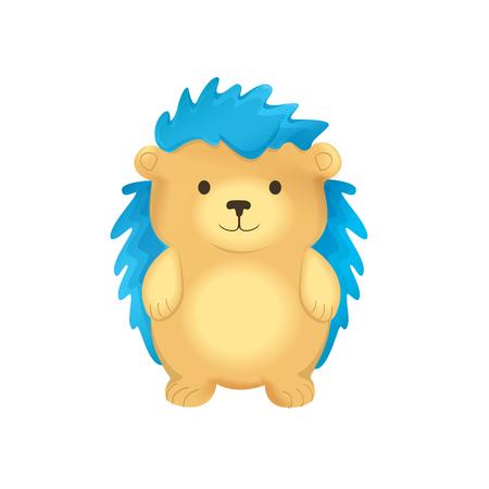 spines: Vector illustration of cute cartoon hedgehog with blue spines Illustration