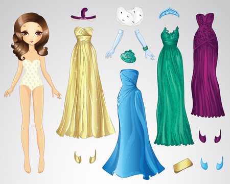 Vector illustration of paper doll and set of evening dresses