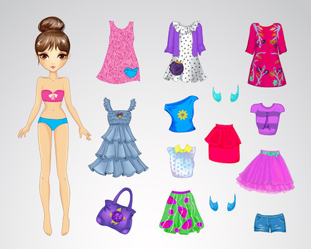 Vector illustration of cute paper doll and set of casual clothes