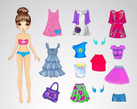 Ilustración del vector de muñeca de papel linda y un conjunto de ropa casual