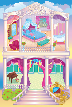 front of house: Vector illustration of fairytale luxury princess house with a bedroom, dressing room and ballroom