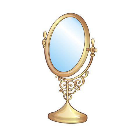 vintage furniture: Vector illustration of vintage golden mirror