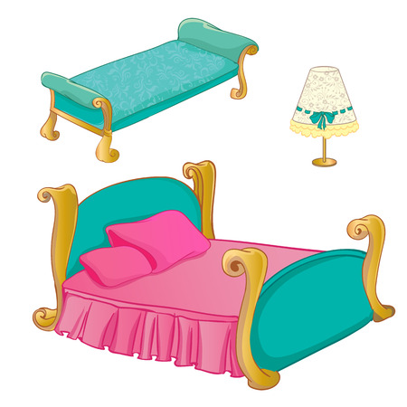 bedroom furniture: Vector colouring illustration of furniture set for princess bedroom