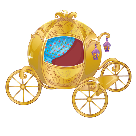Vector illustration of gold carriage for princess or Cinderella Illustration