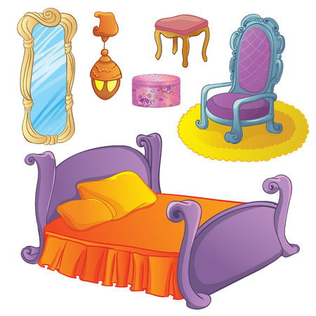 bedroom furniture: Vector illustration of furniture set for fairy or princess bedroom