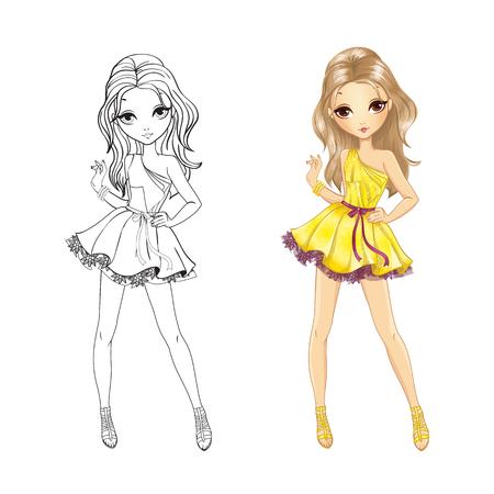 Ilustración De Vector De Libro Para Colorear De Hermosa Chica ...