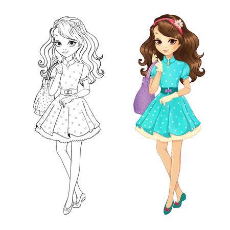 Dibujo Para Colorear Ilustración Vectorial De Hermosa Niña Linda En ...