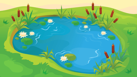 water lilies: Vector seamless cartoon game background of pond with reeds and water lilies Illustration