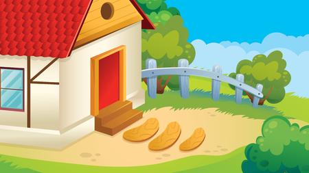 Vector cartoon game background of village courtyard