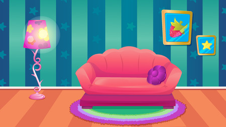Vector cartoon game background of blue room with big purple sofa