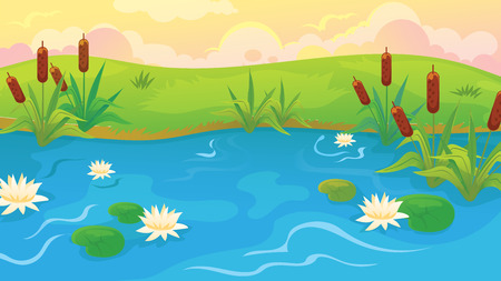 Vector cartoon pond landscape with reeds and water lilies