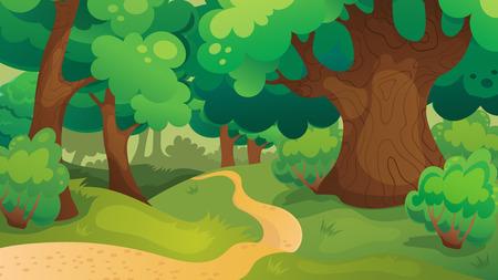 Vector cartoon game background of oak forest landscape