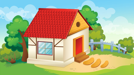 Vector cartoon game background of house and village courtyard