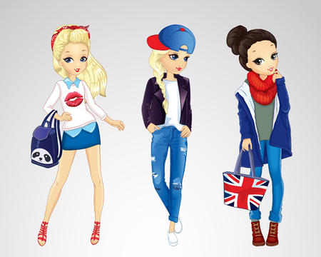 Vector illustration of fashion girls dressed in jeens city style