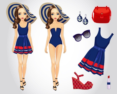 Vector illustration of fashion set for paper doll in blue beach dress with accessories Illustration