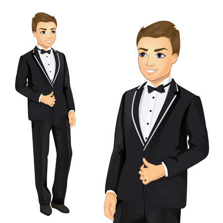 elegantly: Vector illustration of attractive man elegantly dressed in suit Stock Photo
