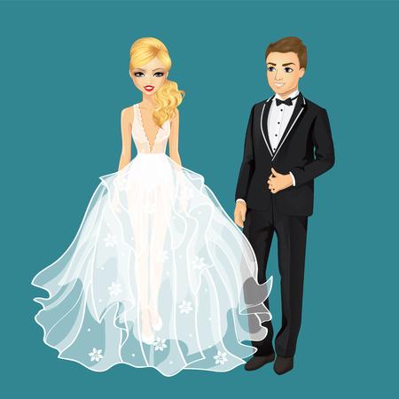 ilustración vectorial de la hermosa novia feliz en vestido de la manera y el novio