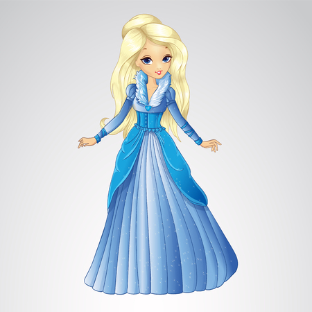 Vector illustration of fashion blonde snow queen in long blue dress