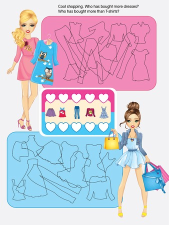 Vector activity page for kids.Cool shopping with two frends