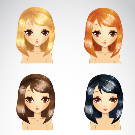 Vector illustration of beautiful straight short hair set in four colors