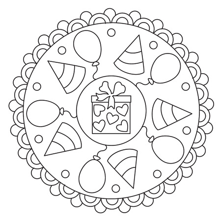 Vector coloring simple mandala round ornament of celebration for children