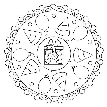 Vector colorazione semplice mandala rotondo ornamento della celebrazione per i bambini Archivio Fotografico - 68493769